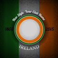 orange green circle frame for your lable on Irish flag grunge background Royalty Free Stock Photo