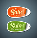 Orange and Green Labels paper Stock Image