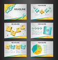 Orange and green multipurpose presentation infographic element and light bulb symbol icon template flat design set for advertising Royalty Free Stock Photo