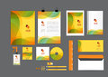 Orange, green and yellow with curve graphic corporate identity template