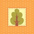 Orange greeting card with tree in love green Royalty Free Stock Photography