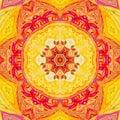 Bright orange and grenadine mandala of svadhisthana chakra