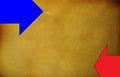 Orange  grunge background with two  horizontal arrows Royalty Free Stock Photo