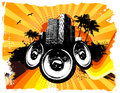 Orange grunge beach speakers background Stock Image