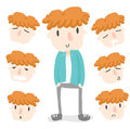 Orange hair boy emotion the pack x sleeping boring yawn singing wondering sad Royalty Free Stock Image