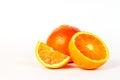 Orange, a half and a piece Royalty Free Stock Photos