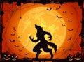 Orange Halloween background with bats and werewolf