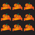 Orange halloween carved pumpkins and banners set eps10 Royalty Free Stock Photo