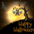 Orange halloween vampire bat background a spooky scary scene with hanging from a spooky tree with a full moon in the Stock Photos