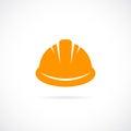 Orange hard hat vector icon