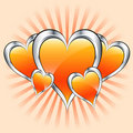 Orange hearts, valentine or mothers day Stock Photography