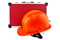 Orange helmet and red suitcase Royalty Free Stock Photo