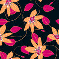 Orange hibiscus flowers and leaves seamless pattern Royalty Free Stock Photo
