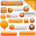 Orange high-detailed modern buttons. Royalty Free Stock Photos