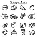 Orange icon set in thin line style