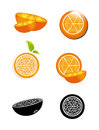 Orange icons over white background vector illustration Royalty Free Stock Images