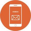 Orange inbox design in a flat round button