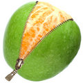 Orange  inside apple  with zipper Royalty Free Stock Photo