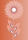 Orange isolated fantasy flower on gradient background, line art illustration, template for poster, invitation