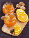 Orange jam in a glass jar Royalty Free Stock Images