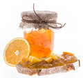 Orange jam in jar with fruits and bread isolated on white background Royalty Free Stock Photography