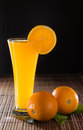 Orange juice on black background Stock Photography