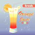 Orange juice bright tasty in a glass on a blue background Royalty Free Stock Photo