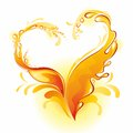 Orange juice frame in the form of heart. Royalty Free Stock Photos