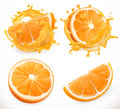 Orange juice. Fresh fruit and splashes. Vector icon set Royalty Free Stock Photo