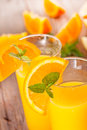 Orange juice fresh with mint and Royalty Free Stock Photos
