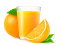Orange juice and fresh oranges over white background Royalty Free Stock Images