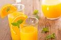 Orange juice fresh on wooden background Stock Image