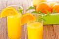 Orange juice fresh on wooden background Royalty Free Stock Photography
