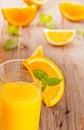 Orange juice fresh on wooden background Stock Photography