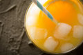 Orange juice in glass, fresh fruits. selective focus, Royalty Free Stock Photo