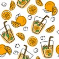 Orange juice in a glass. Seamless pattern with natural fresh. Orange slice, tube for drinking. Healthy organic food. Citrus fruit. Royalty Free Stock Photo