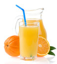 Orange juice in glass and slices on white Royalty Free Stock Photography