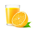 Orange juice and half of over white background Stock Image
