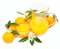 Orange juice and oranges fruits with blossom on a white background Stock Photos