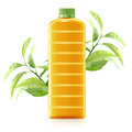 Orange juice in a plastic container jug with fresh and leaves on a white background Stock Photos
