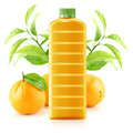 Orange juice in a plastic container jug with fresh and leaves on a white background Royalty Free Stock Photos