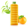 Orange juice in a plastic container jug with fresh and leaves on a white background Royalty Free Stock Photo