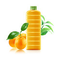 Orange juice in a plastic container jug with fresh and leaves on a white background Stock Images