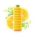 Orange juice in a plastic container jug with fresh and leaves on a white background Stock Photography