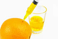 Orange juice pure fresh full of vitamin c being extracted Stock Photography