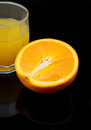 Orange juice with a slice of on a black background Stock Photo