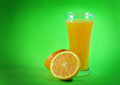 Orange juice and slices of orange Stock Photo