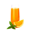 Orange juice and slices of orange isolated Stock Photo