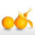 Orange juice splashing over white Royalty Free Stock Photos