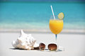 Orange juice sunglasses and conch on the beach of exuma bahamas Royalty Free Stock Photo